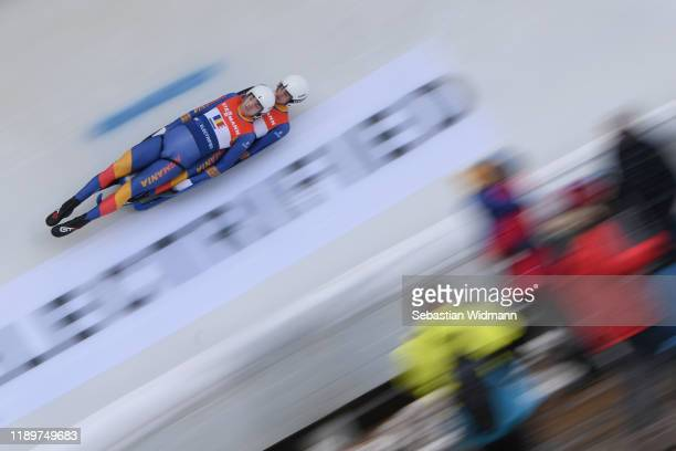 TudorStefan Handaric and AlexandruValentin Ailenei of Romania compete in the Relay competition during the FIL Luge World Cup at OlympiaRodelbahn on...