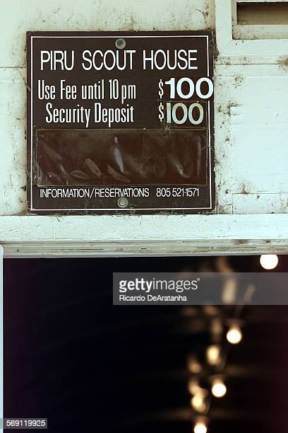 Tuesday Piru CA – DIGITAL IMAGE – Sign at the entrance of the Piru Scout House an old WWII quonset hut that for about 50 years it was the town's only...