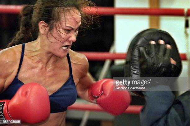 Tuesday 10/3/2000 Simi Valley CA – DIGITAL IMAGE – Boxer Alicia Doyle in action during practice at the Kid Glove Boxing Foundation gym Tuesday Doyle...
