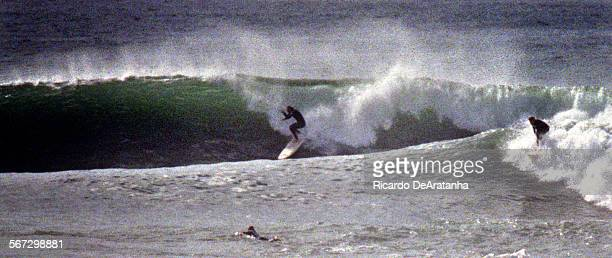 Tuesday 2/15/2000 –– Surfers enjoying the big waves at Rincon Waves were 5' to 6' with an occasional 12 footer on west facing beaches