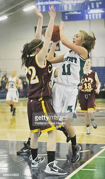 Tuesday February 22 2011 Cape Elizabeth vs Leavitt girls class B basketball tourney game at the Portland Expo Cape's Caroline Kelly cuts off...