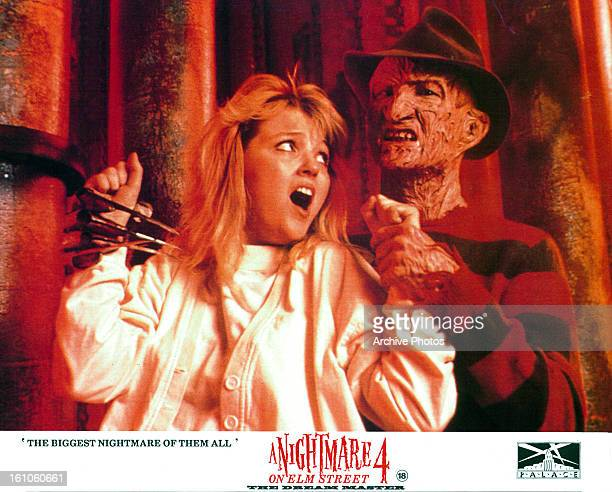 Tuesday Knight screams from the grasp of Robert Englund in movie art for the film 'A Nightmare On Elm Street 4 The Dream Master' 1988