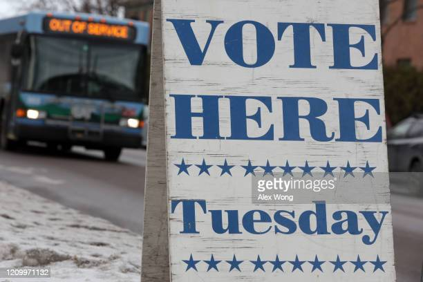 """Tuesday"""" sign is placed outside Burlington Electric Department March 2 2020 in Burlington Vermont Vermont will be one of the 14 states that hold..."""