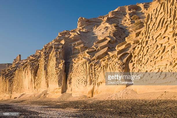 tufa cliffs at sunset, vlyhada, santorini, greece - oia santorini fotografías e imágenes de stock