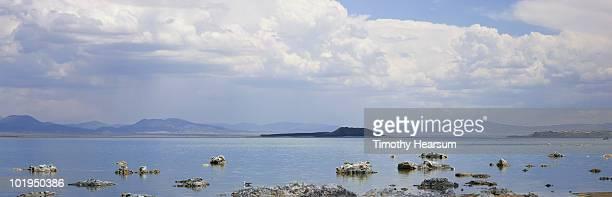 tufa formations in mono lake on a cloudy day - timothy hearsum stock-fotos und bilder