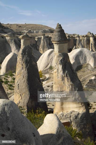 tufa formations, monks valley, pasabagi, nevsehir province, cappadocia, turkey - central anatolia stock photos and pictures