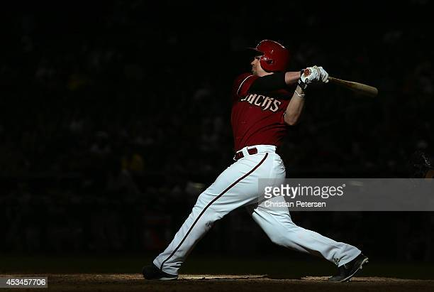 Tuffy Gosewisch of the Arizona Diamondbacks bats against the Colorado Rockies during the tenth inning of the MLB game at Chase Field on August 10,...