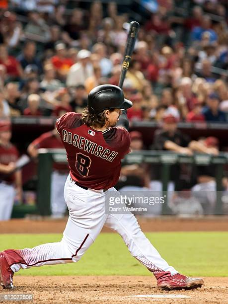 Tuffy Gosewisch of the Arizona Diamondbacks doubles in the ninth inning of the MLB game against the San Diego Padres at Chase Field on October 2 2016...