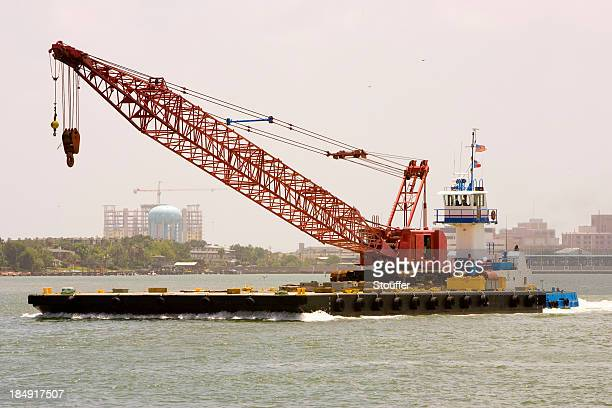 tug, barge and crane - crane construction machinery stock pictures, royalty-free photos & images