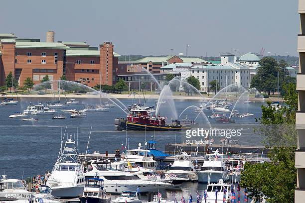 tug boat daniel mcallister leads the way for opsail 2012. - norfolk virginia stock pictures, royalty-free photos & images