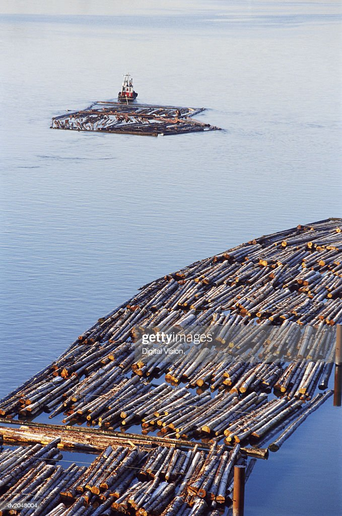 Tug Hauling Logs on a River : Stock Photo