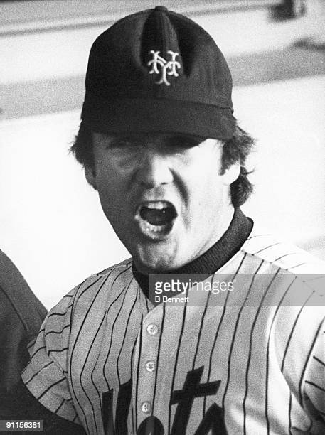 Tug McGraw of the New York Mets celebrates following Game Five of the 1973 World Series against the Oakland Athletics on October 18 1973 at Shea...