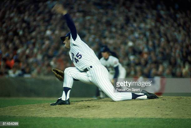 Tug McGraw of the New York Mets pitches against the Oakland Athletics during the World Series at Shea Stadium in Flushing New York in October of 1973