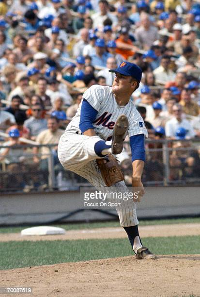 Tug McGraw of the New York Mets pitches during an Major League Baseball game circa 1969 at Shea Stadium in the Queens borough of New York City McGraw...