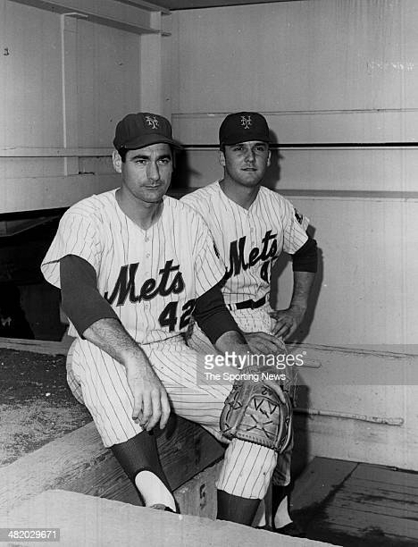 Tug McGraw of the New York Mets sits in the dugout circa 1960s