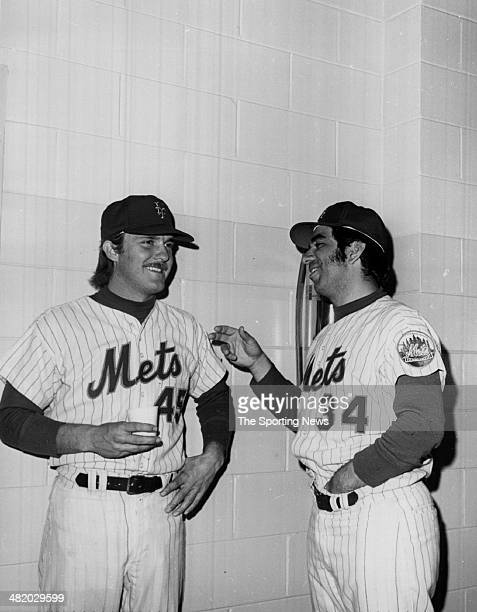 Tug McGraw of the New York Mets talks to a fellow player circa 1960s