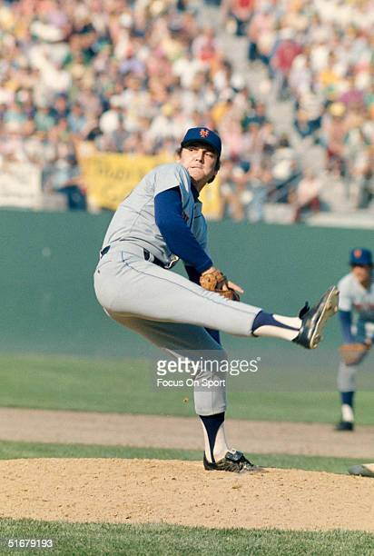 Tug McGraw of the New York Mets throws a pitch