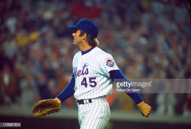 Tug McGraw of the New York Mets walks off the field during an Major League Baseball game circa 1970 at Shea Stadium in the Queens borough of New York...