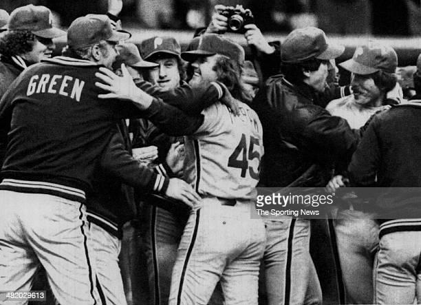 Tug McGraw of the Philadelphia Phillies celebrates circa 1970s