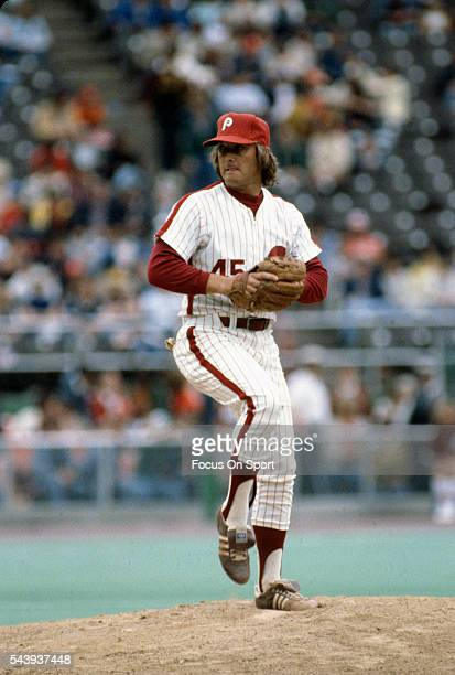 Tug McGraw of the Philadelphia Phillies pitches during an Major League Baseball game circa 1980 at Veterans Stadium in Philadelphia Pennsylvania...