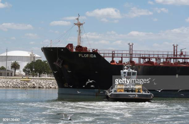 Tug pushing the hull of the Florida to position the tanker ship against the quay Port of Tampa Florida USA