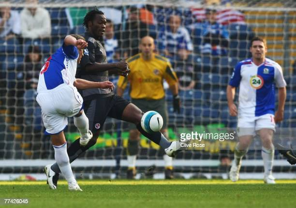 Tugay of Blackburn Rovers shoots and scores a long range goal during the Barclays Premier League match between Blackburn Rovers and Portsmouth at...