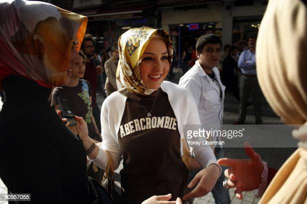 Tugba Gul Bagatir a young Muslim women meets up with her friends to walk and shop on the main street of Istanbul modern city center on April 21 2008...
