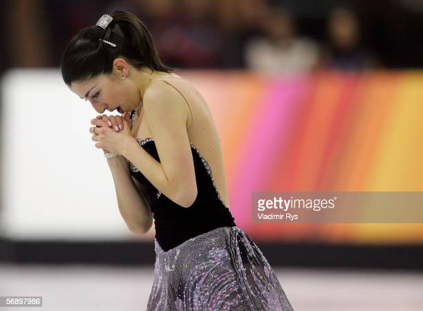 Tugba Karademir of Turkey reacts after performing in the women's Short Program of the figure skating during Day 11 of the Turin 2006 Winter Olympic...