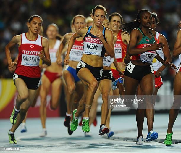 Tugba Karakaya of Turkey, Morgan Uceny of United States and Hellen Onsando Obiri of Kenya compete in the women's 1500 metres semi final during day...