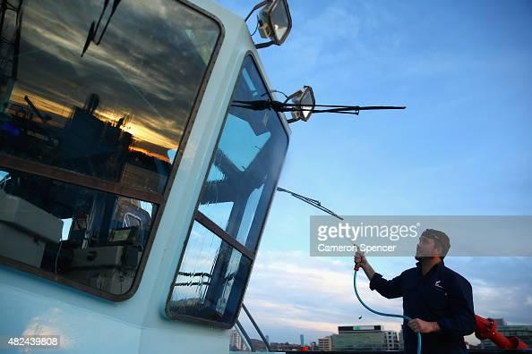 Tugboat Master John Duncan prepares his tugboat prior to a