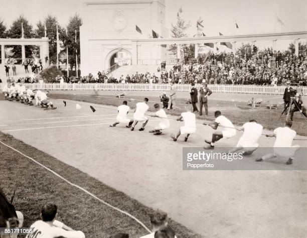 A tugofwar competition in the Olympic Stadium during Summer Olymipic Games in Antwerp on 18th August 1920
