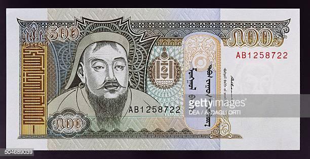 500 tugrik banknote 19901999 obverse portrait of Genghis Khan Mongolia 20th century