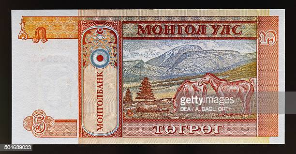 Tugrik banknote, 1990-1999, reverse, horses. Mongolia, 20th century.