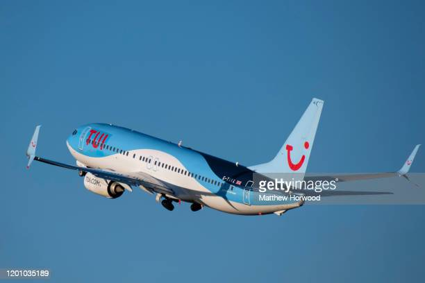 Tui branded Boeing 737-8K5 at Cardiff Airport on January 19, 2020 in Cardiff, United Kingdom.