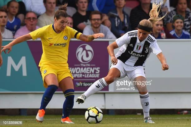 TuijaAnnika Hyyrynen of Juventus Women is tackled by Ramona Bachmann of Chelsea Ladies during the PreSeason Friendly match between Chelsea Ladies and...