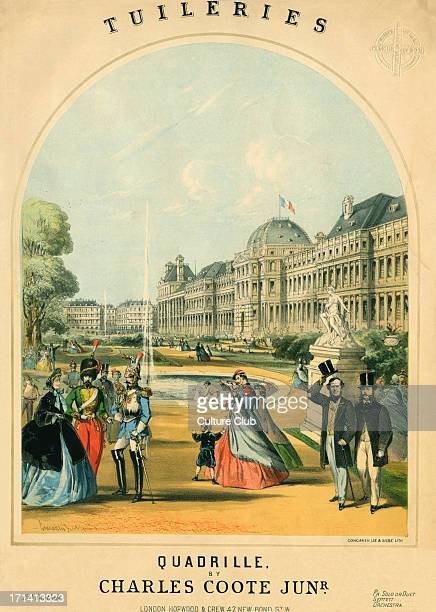 'Tuileries' Quadrille by Charles Coote Jr.Llithograph by Concanen, Lee and Siebe. Published London, Hopwood & Crew c.1858. Gardens, people...