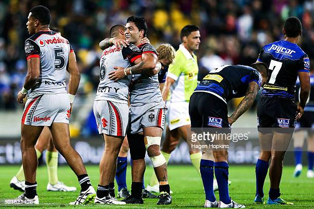 Tuimoala Lolohea and Issac Luke of the Warriors celebrate the win during the round seven NRL match between the Canterbury Bulldogs and the New...