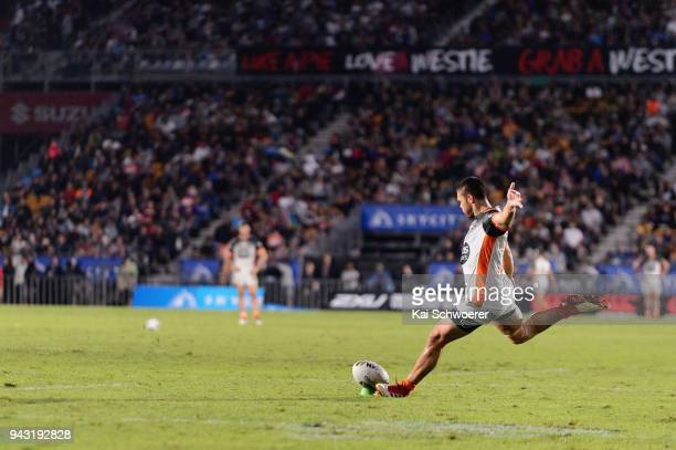 Tuimoala Lolohea of the Tigers kicks a conversion during the round five NRL match between the Wests Tigers and the Melbourne Storm at Mt Smart...