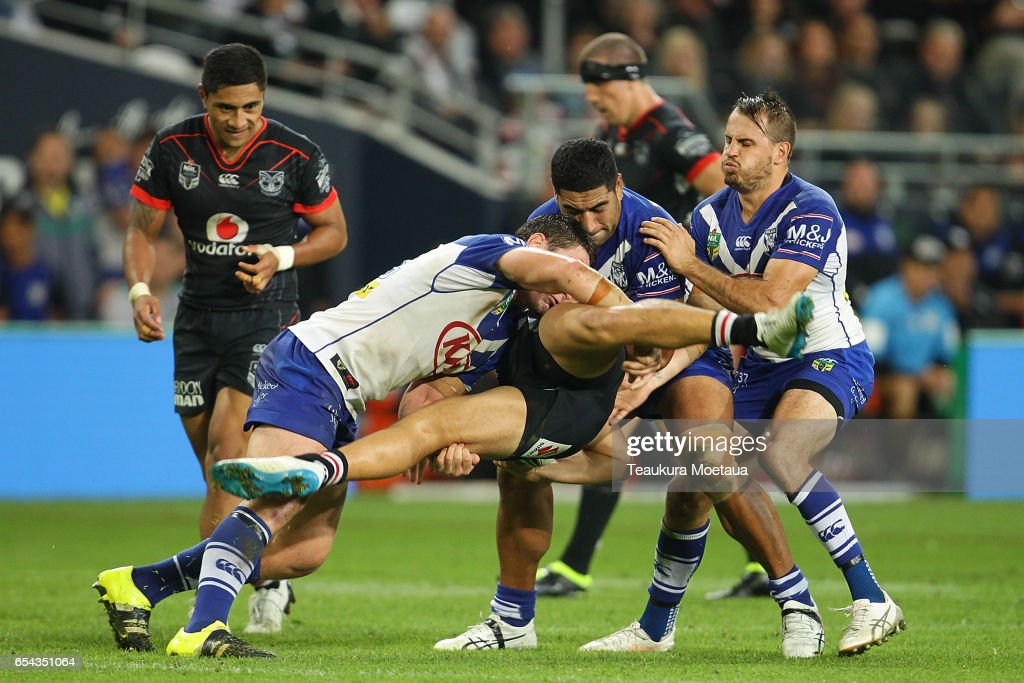 Tuimoala Lolohea of the Warriors is tackled during the round three NRL match between the Bulldogs and the Warriors at Forsyth Barr Stadium on March 17, 2017 in Dunedin, New Zealand.