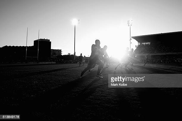 Tuimoala Lolohea of the Warriors makes a break during the round one NRL match between the Wests Tigers and the New Zealand Warriors at Campbelltown...