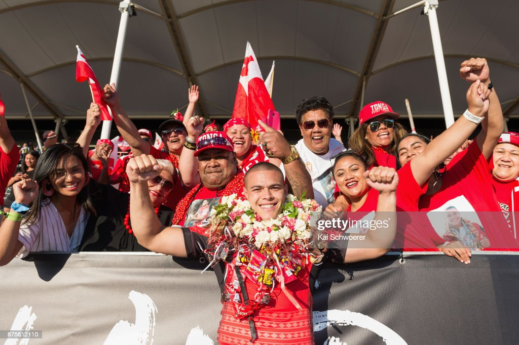Tuimoala Lolohea of Tonga celebrates with fans after the win in the 2017 Rugby League World Cup Quarter Final match between Tonga and Lebanon at AMI Stadium on November 18, 2017 in Christchurch, New Zealand.