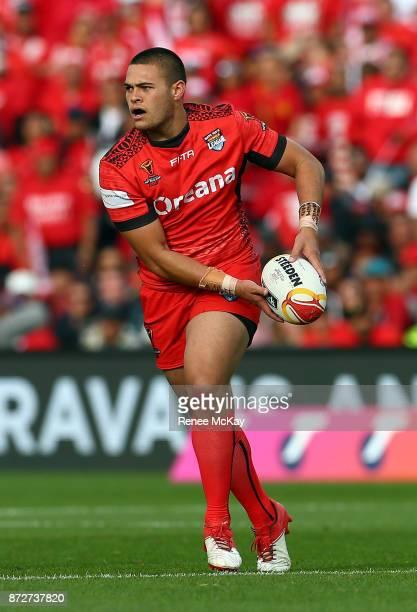 Tuimoala Lolohea of Tonga during the 2017 Rugby League World Cup match between the New Zealand Kiwis and Tonga at Waikato Stadium on November 11 2017...
