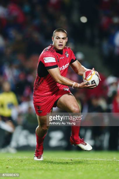Tuimoala Lolohea of Tonga in action during the 2017 Rugby League World Cup match between Samoa and Tonga at Waikato Stadium on November 4 2017 in...