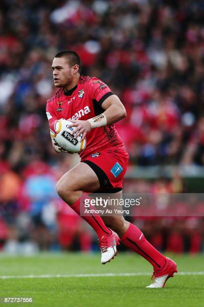 Tuimoala Lolohea of Tonga in action during the 2017 Rugby League World Cup match between the New Zealand Kiwis and Tonga at Waikato Stadium on...