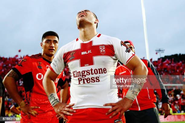 Tuimoala Lolohea of Tonga reacts after losing the 2017 Rugby League World Cup Semi Final match between Tonga and England at Mt Smart Stadium on...