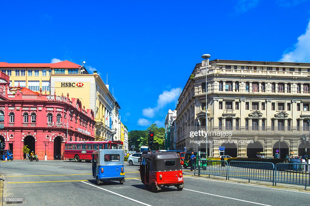 Tuk Tuk And Bus In Fort Colombo Sri Lanka Stock Photo - Getty Images