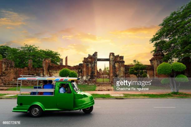 tuk tuk car in thailand, tuk tuk is taxi car for travel around ayutthaya city thailnd - auto rickshaw stock pictures, royalty-free photos & images