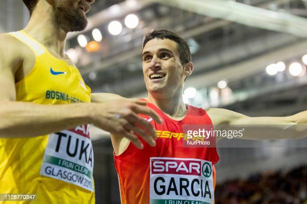 Tuka Amel and Garcia Mariano ESP competing in the 800m Men event during day ONE of the European Athletics Indoor Championships 2019 at Emirates Arena...