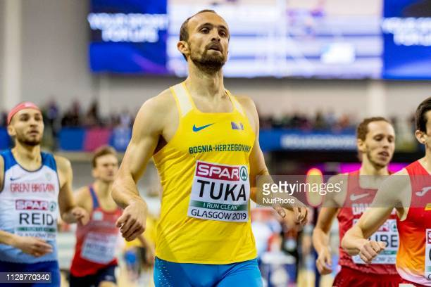 Tuka Amel competing in the 800m Men event during day ONE of the European Athletics Indoor Championships 2019 at Emirates Arena in Glasgow Scotland...