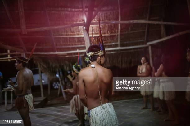 Tukano Oriental Indigenous are seen at the maloca at the Panure indigenous reservation in San Jose del Guaviare, Colombia on March 24, 2021....